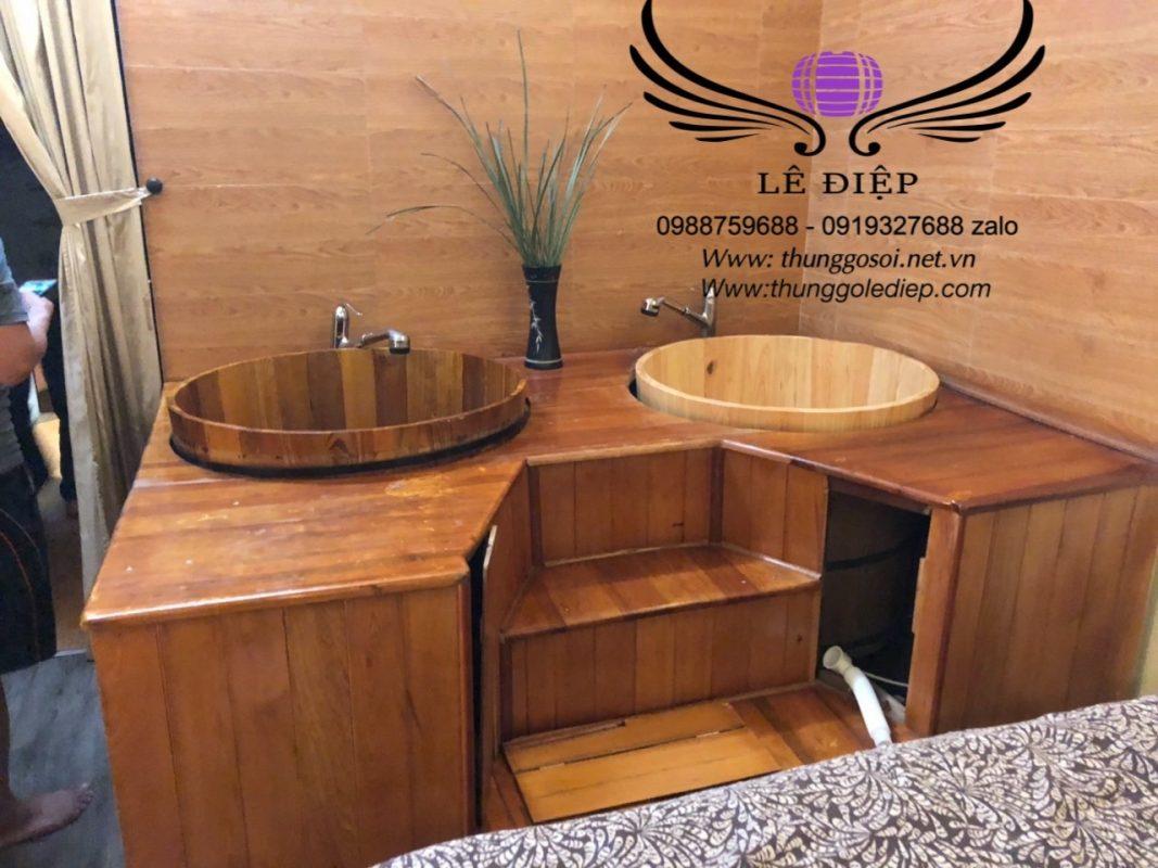 lắp đặt bồn tắm gỗ spa tại Hà Nội