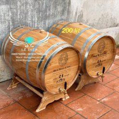 thùng rượu gỗ sồi 200l