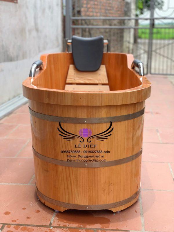 bồn tắm gỗ đóng đai inox cao cấp chắc chắn