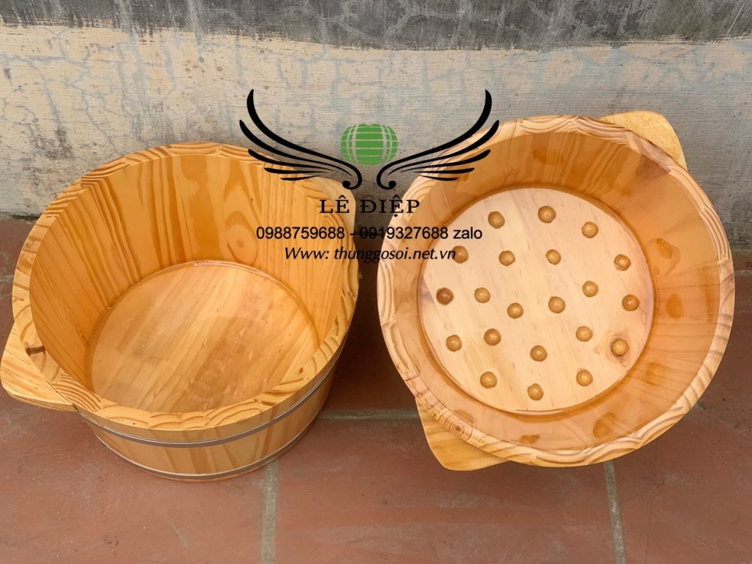 bồn ngâm chân gỗ thông