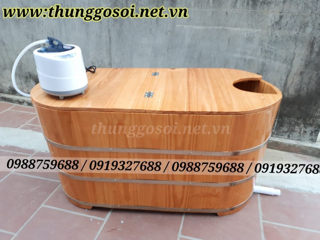 bồn tắm xông bằng gỗ