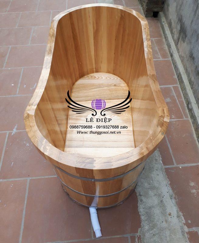 ghép mộng bồn tắm gỗ ovan