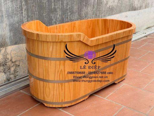 bồn tắm gỗ ovan cao cấp