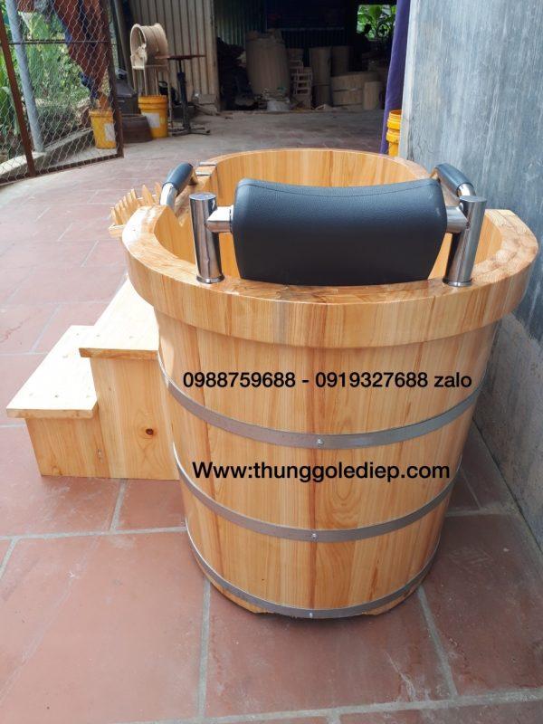 gối tựa đầu inox bọc da thùng tắm gỗ