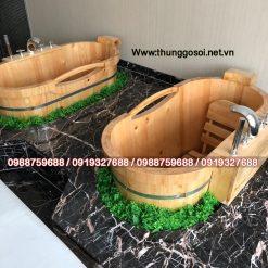 bồn tắm gỗ pơmu spa