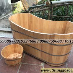 bồn tắm gỗ sồi bầu dục