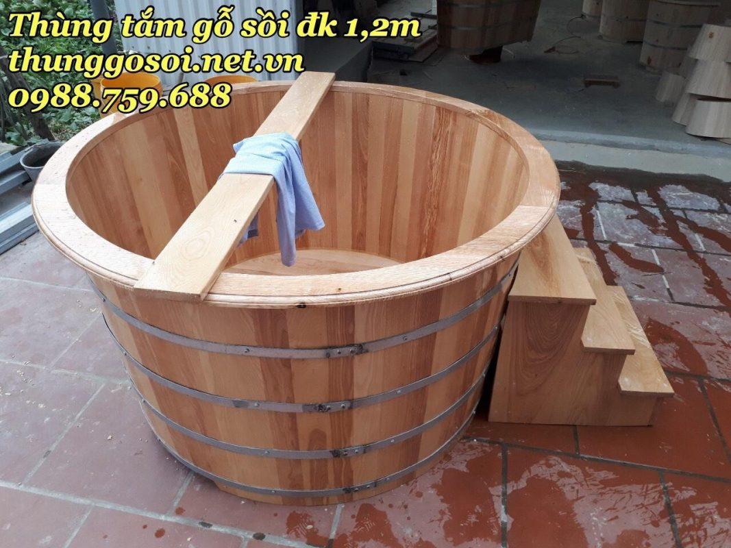 bồn tắm gỗ sồi nga