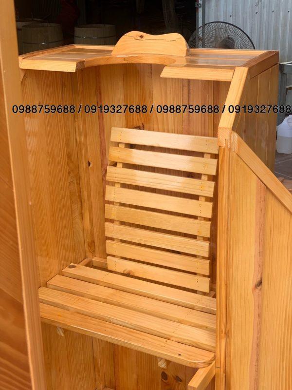 thùng xông hơi có ghế tựa và gối đỡ đầu