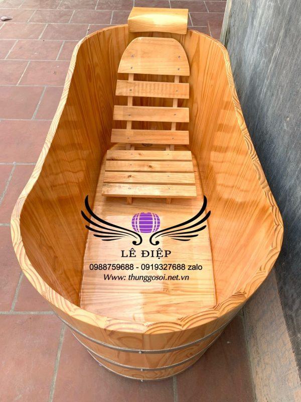 thùng tắm gỗ bầu dục giá rẻ