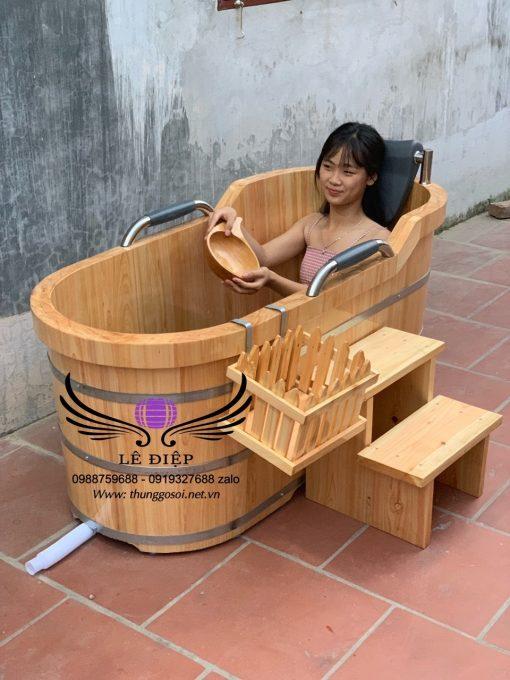 thùng tắm gỗ ovan giá rẻ