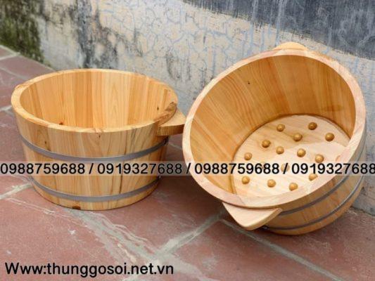 bồn ngâm chân gỗ pơmu