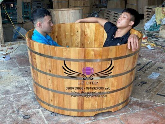 bồn tắm đôi gỗ pơmu
