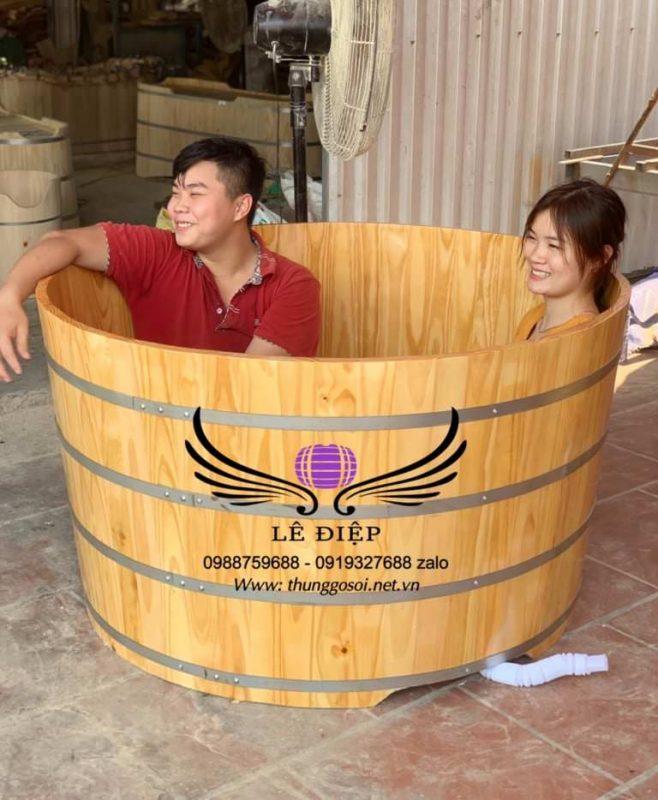 bồn tắm gỗ đôi