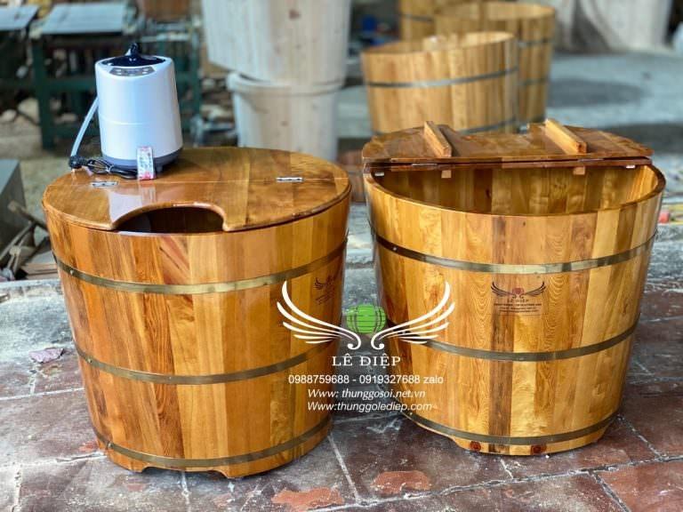 thùng tắm xông hơi bằng gỗ pơ mu