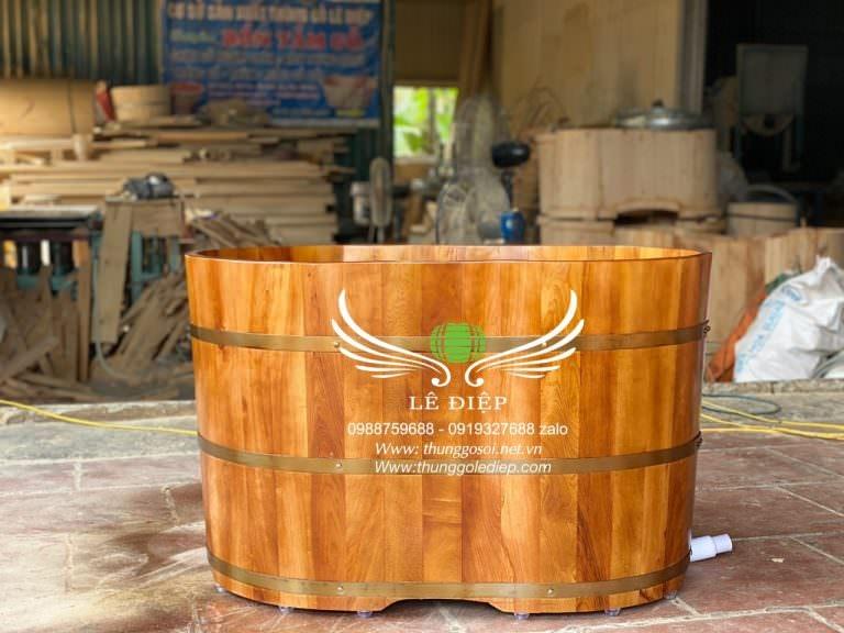 thùng tắm gỗ pơ mu mini