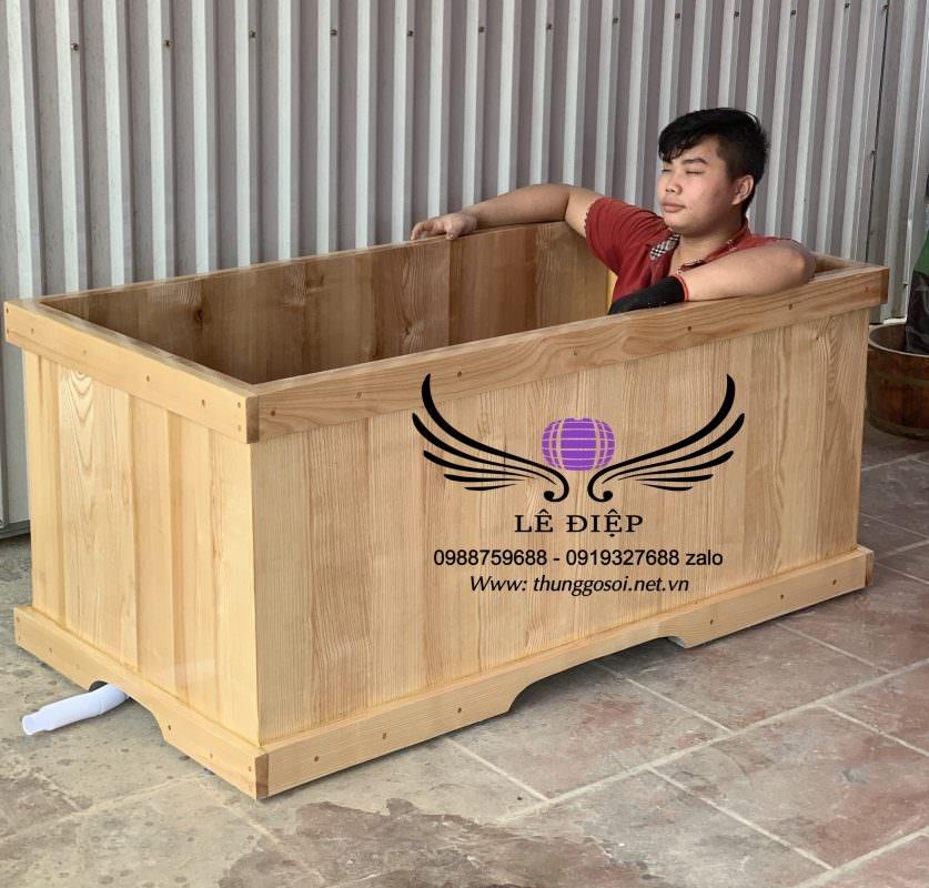 thùng tắm vuông gỗ sồi