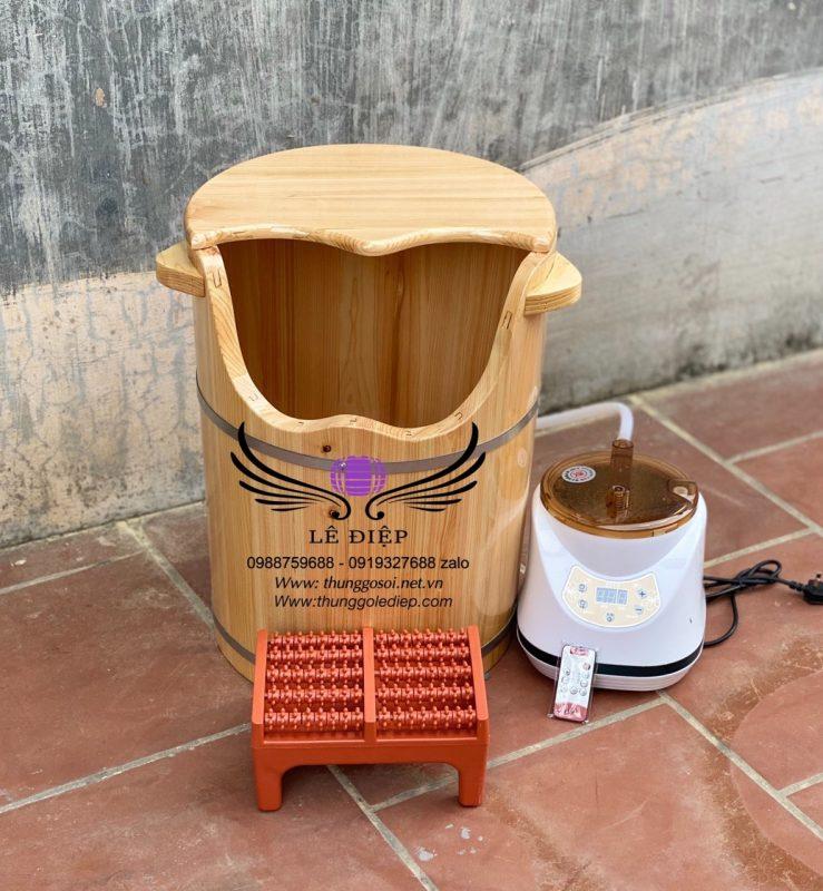 thùng xông chân gỗ pơmu