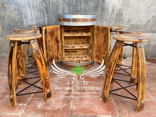bàn thùng rượu gỗ thông quán bar