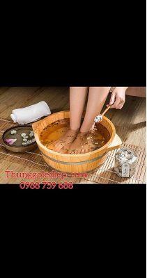 bồn gỗ thông ngâm chân thảo dược