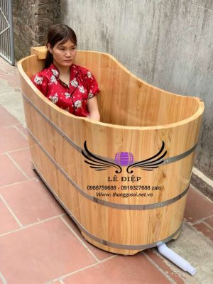 bồn tắm oval gỗ pơ mu