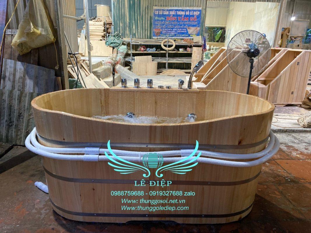 thùng tắm sục massage bằng gỗ hinoki
