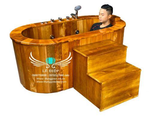 bồn tắm bằng gỗ sục massage
