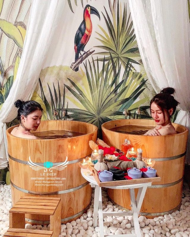 bồn tắm gỗ cho spa